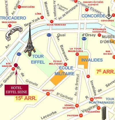 Mapa Y Acceso Hotel Eiffel Seine Par 237 S Cerca De La Torre Eiffel